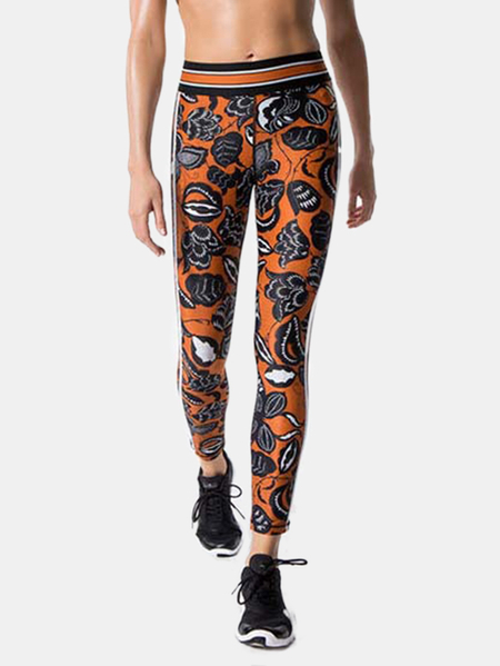 Active Floral Print High-Waisted Sports Pants in Orange