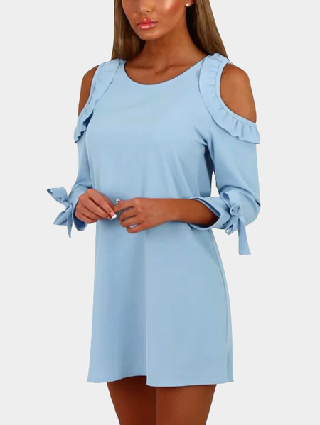 Blue Round Neck Frills Cold Shoulder Mini Dress