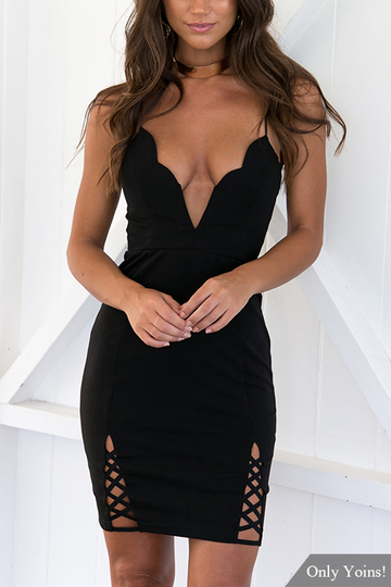 Black Sexy V-neck Cross Front Hem Dress with Self-tie Design