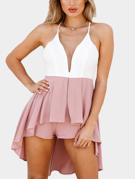 Deep V-neckline Criss-Cross Back Playsuit