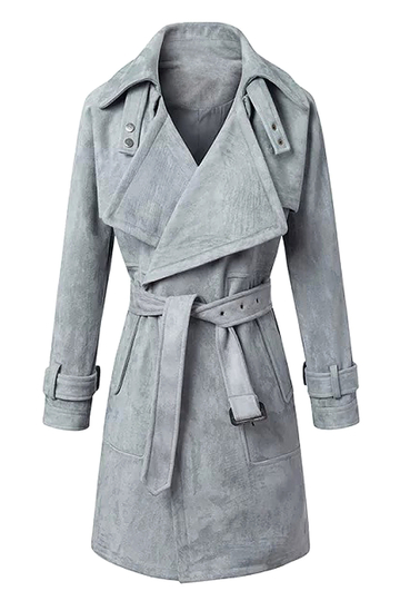 Suede Belted Trench Coat in Gray