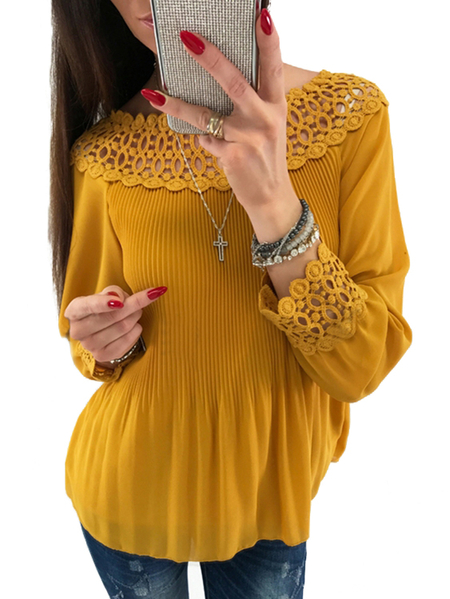 Yellow Lace Details Off The Shoulder Long Sleeves Blouse