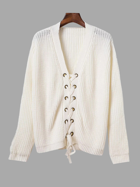 White Fashion Lace-up Front V-neck Jumper