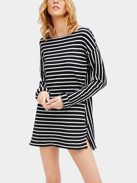 Black and White Stripe Pattern Round Neck Vestido casual