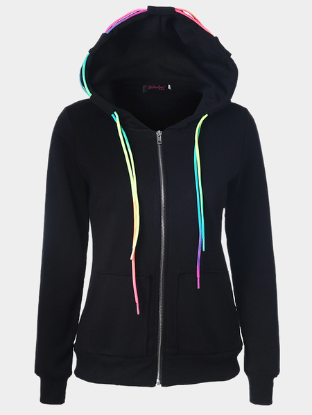 Crew Neck Hoodie with Front Pocket in Black