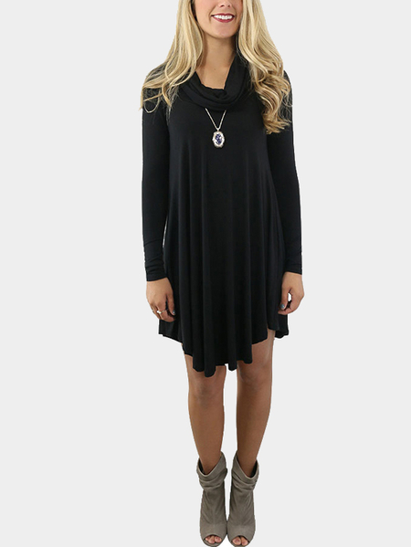 Black Col Boule Ruffled Hem Long Sleeves Mini Dress