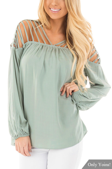 Green Caged Hollow Out Design V-neck Top