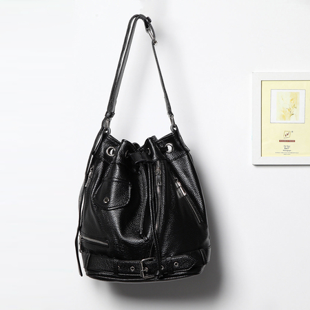 Black Drawstring Closure Shoulder Bag with Zipper Pocket