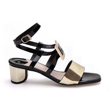 Black Glossy Finish Buckle Over Block Heel Sandals With Gold Strap Front