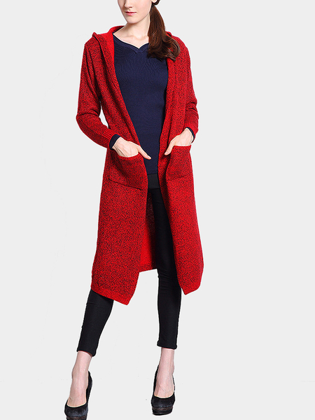 Red Hooded Strickjacke mit offener Front