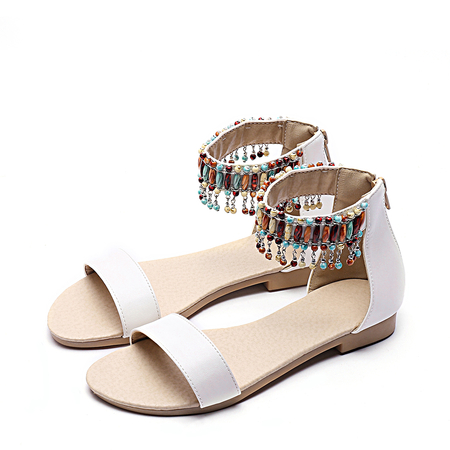 White Jewelled Tassel Design Sandals