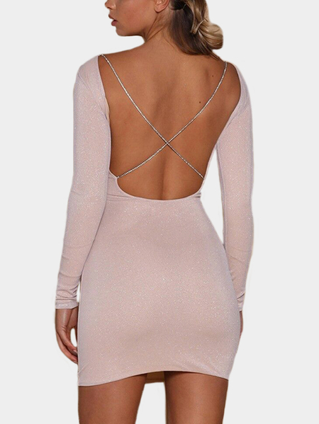 Pink Backless Design Round Neck Long Sleeves Mini Dress