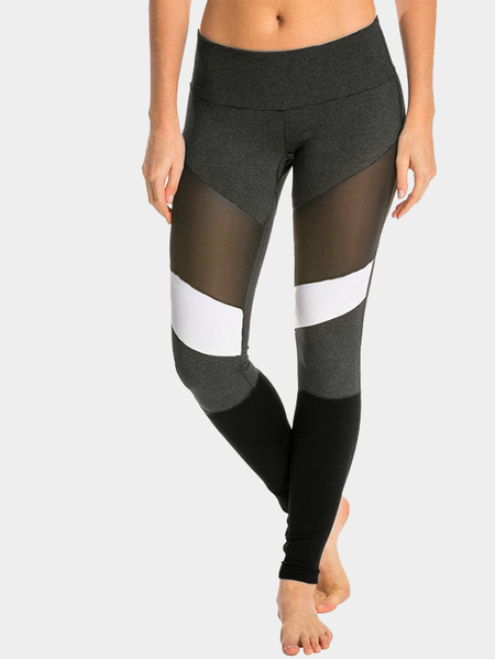 Dark Grey Mesh Design Gym Leggings