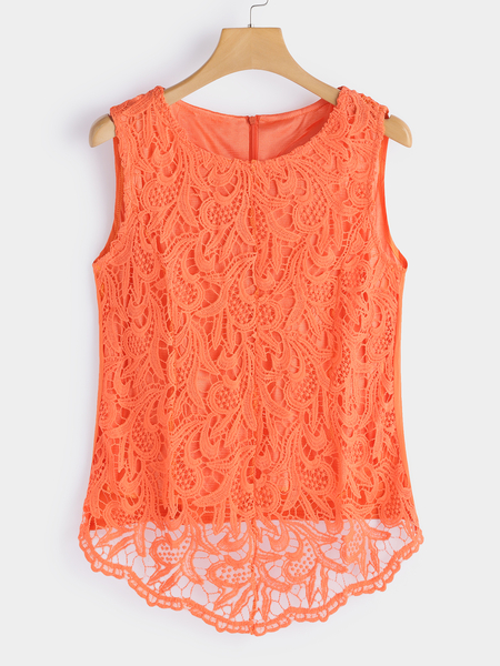 Orange Hollow Out Lace Round Neck Sleeveless Tank