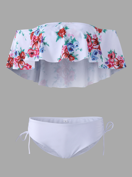 White Lace-up Design Floral Print Off The Shoulder Padded Without Steel Swimwear