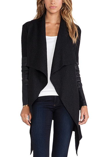Black Coat with PU Detail