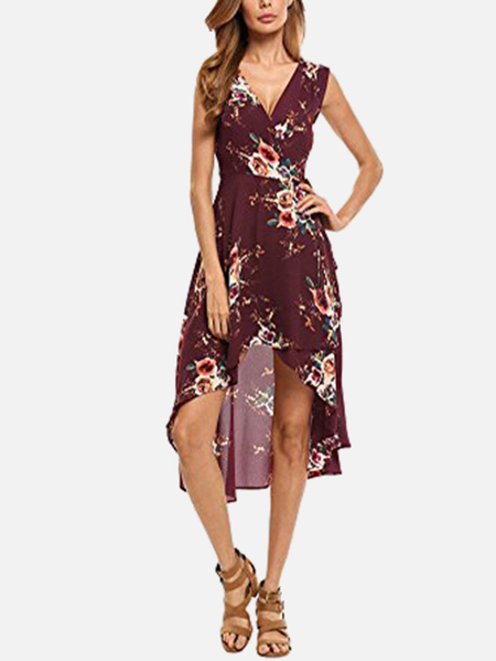 Burgundy V-neck Random Floral Printed Midi Dress