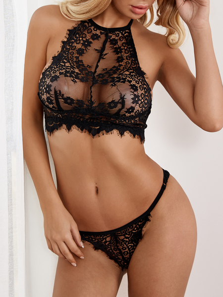 Black Sexy Delicate See-through Eyelash Trim Halter Lingerie Set without Stockings
