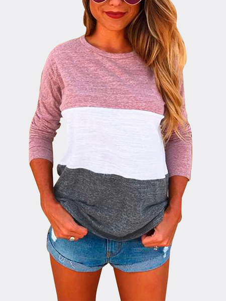 Pink Patch Color Round Neck Long Sleeves T-shirt