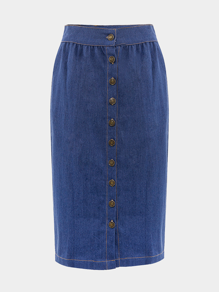 Button Front Denim Midi Skirt with Side Pocket - US$23.95 -YOINS