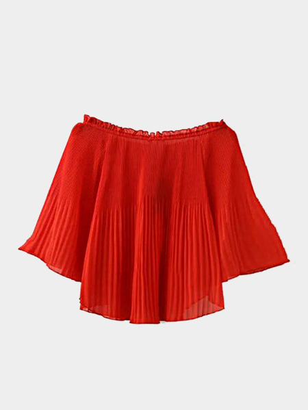 Red Pleated Off shoulder Long Sleeve Top