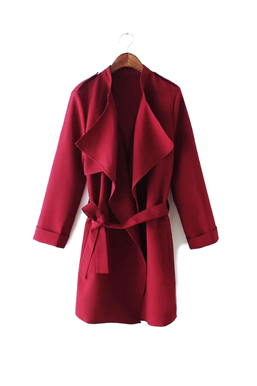 Check Out Claret Lapel Coat With Waistband