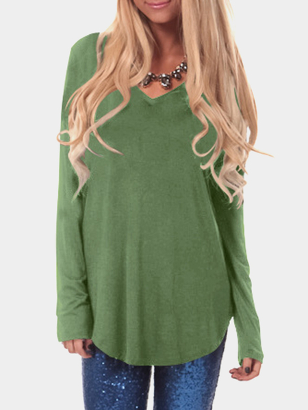 Bud Green V-neck Long Sleeves Curved Hem Casual T-shirt
