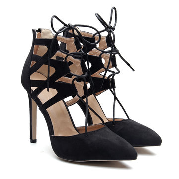 Black Suede Lace-up High Heels