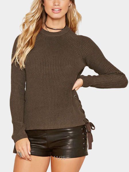 Coffee Short Length Side Lace-up Long Sleeves Jumper