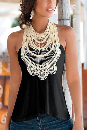 Black Crochet High Neck Sleeveless Top With V-shaped Cut Back