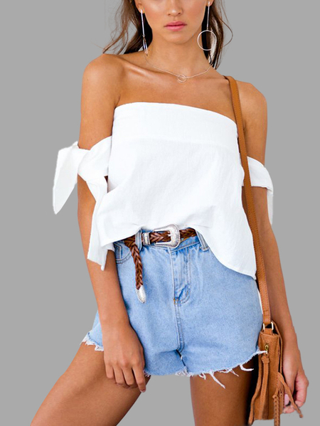 Manteaux de cravate Off-The-Shoulder Top in White