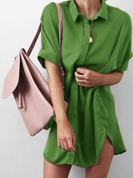 Green Single breasted Design Classic Collar Bat Sleeves Mini Shirt Dress