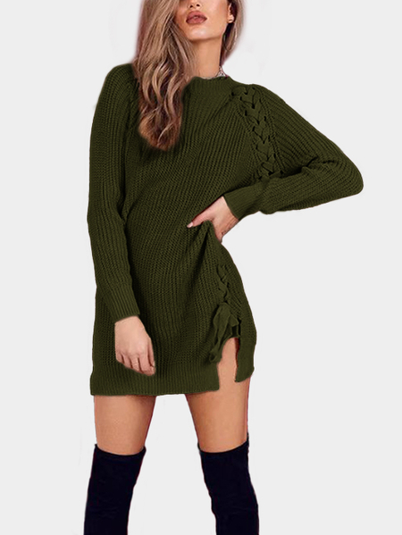 Green Lace Up Détails Long Sleeves Mini Sweater Robes