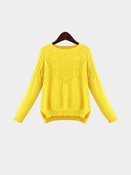 Plus Size Yellow Knit Pullover Sweater - US$31.95 -YOINS
