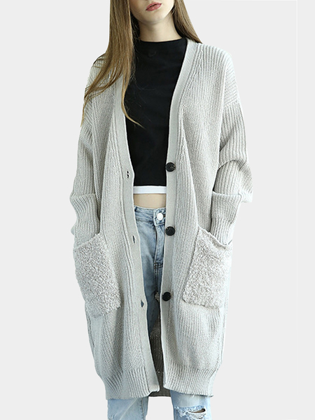 Grey Button Front Longline Cardigan In Knit