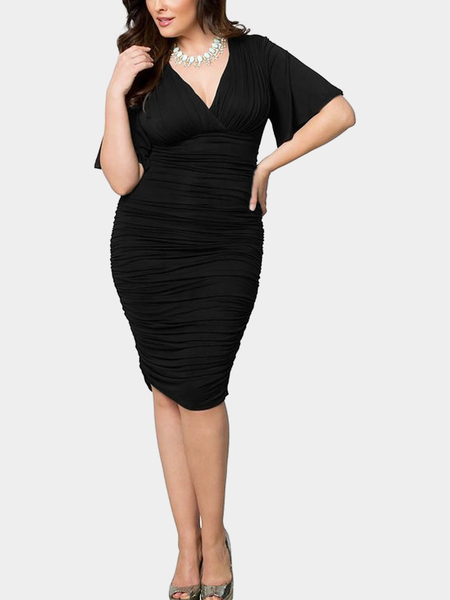 Black Plus Size Creped Plunge Neck Dress