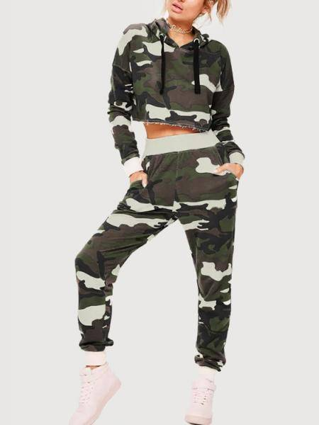 Camouflage Long Sleeves Crop Top & Pants
