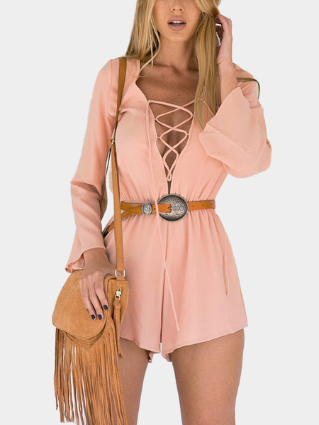 Pink Plunge V-neck Backless Tie Back Long Sleeves Straps Cross Front Playsuit