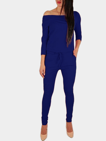 Blue Off The Shoulder Long Sleeves Drawstring Waist Jumpsuit