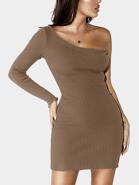 Khaki One Shoulder Single Cuff Sexy Bodycon Ribbed Dress