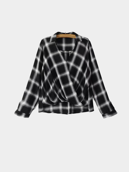 Black Grid V-neck Long Sleeve Wrap Loose Shirt