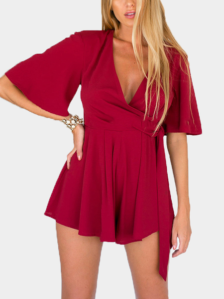 Plunge V-neck Wrap Front Playsuit with Belt