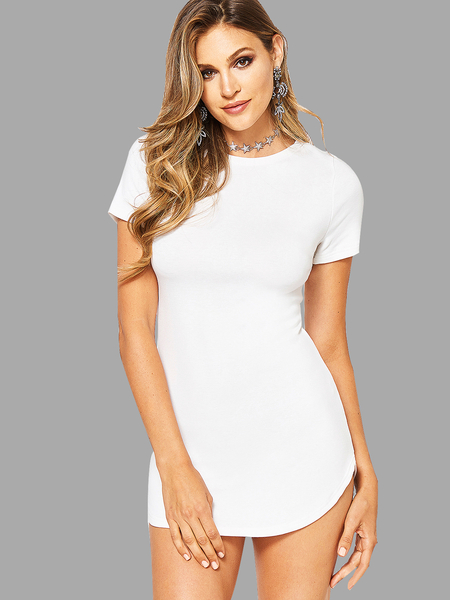 Sexy White Curved hem Bodycon Fit Dress With Short Sleeves