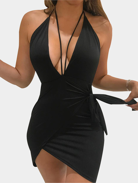 Black Plunging V-neck Lace-up Halter Design Open Back Spaghetti Sexy Dress