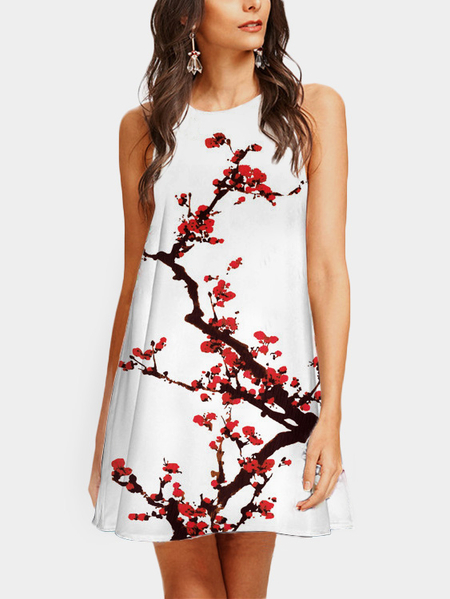 Red Floral Print Crew Neck Sleeveless Dress