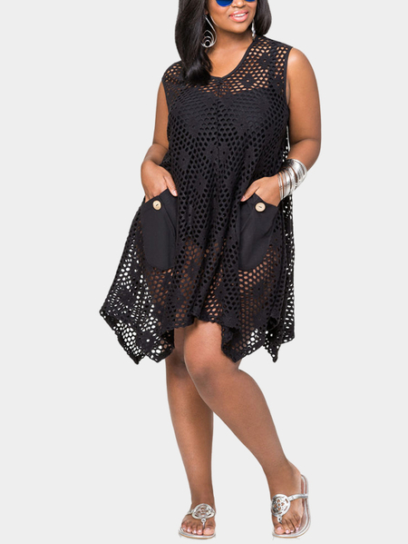 Sexy Hollow Lace Dress with Crochet Trim Design