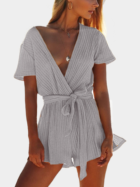Grey Rib Crossed Front Deep V-Neck Self Tie Playsuits