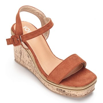 Brown Suede Look Faux Wood Sole Wedge Sandals