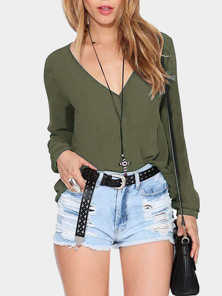 Green V-neck Sheer Wrap Blouse