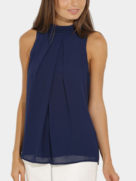 Navy High Neck Open Back Manga de Chiffon Plissado